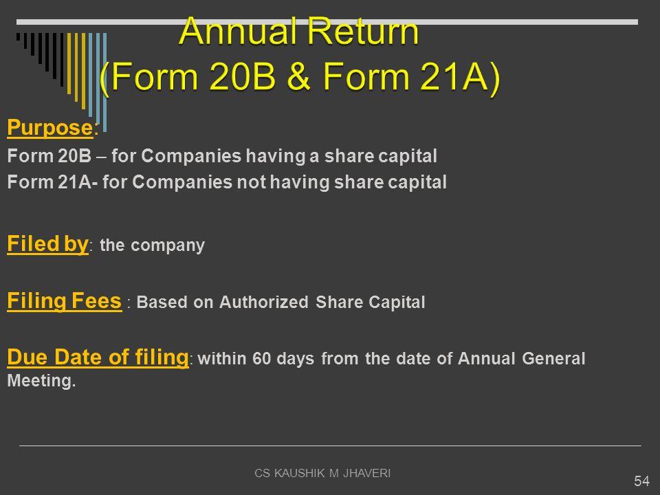 Annual Return (Form 20B & Form 21A)