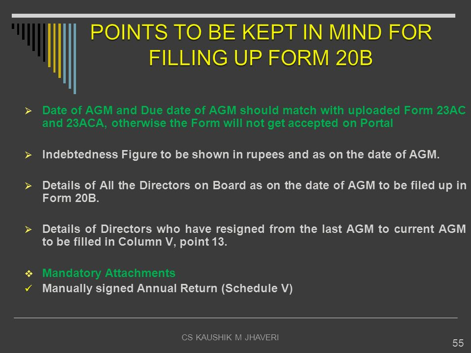 POINTS TO BE KEPT IN MIND FOR FILLING UP FORM 20B