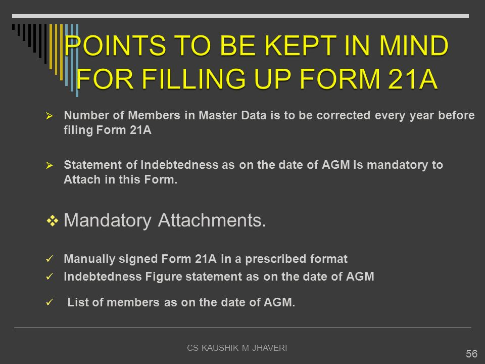 POINTS TO BE KEPT IN MIND FOR FILLING UP FORM 21A