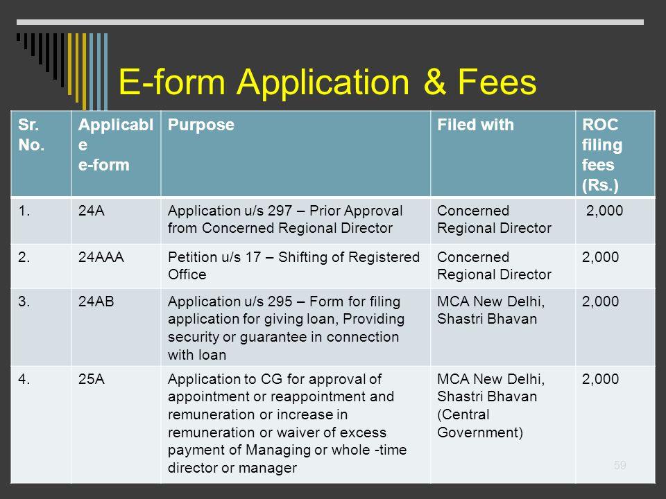 E-form Application & Fees