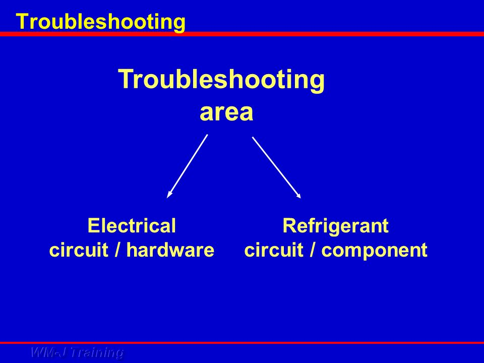 Troubleshooting area Troubleshooting Electrical circuit / hardware
