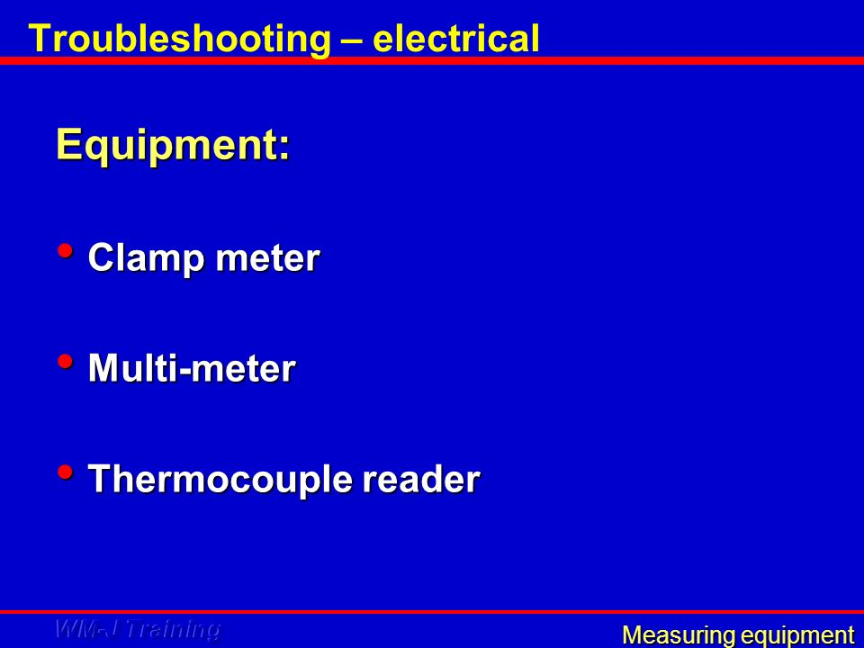 Troubleshooting – electrical