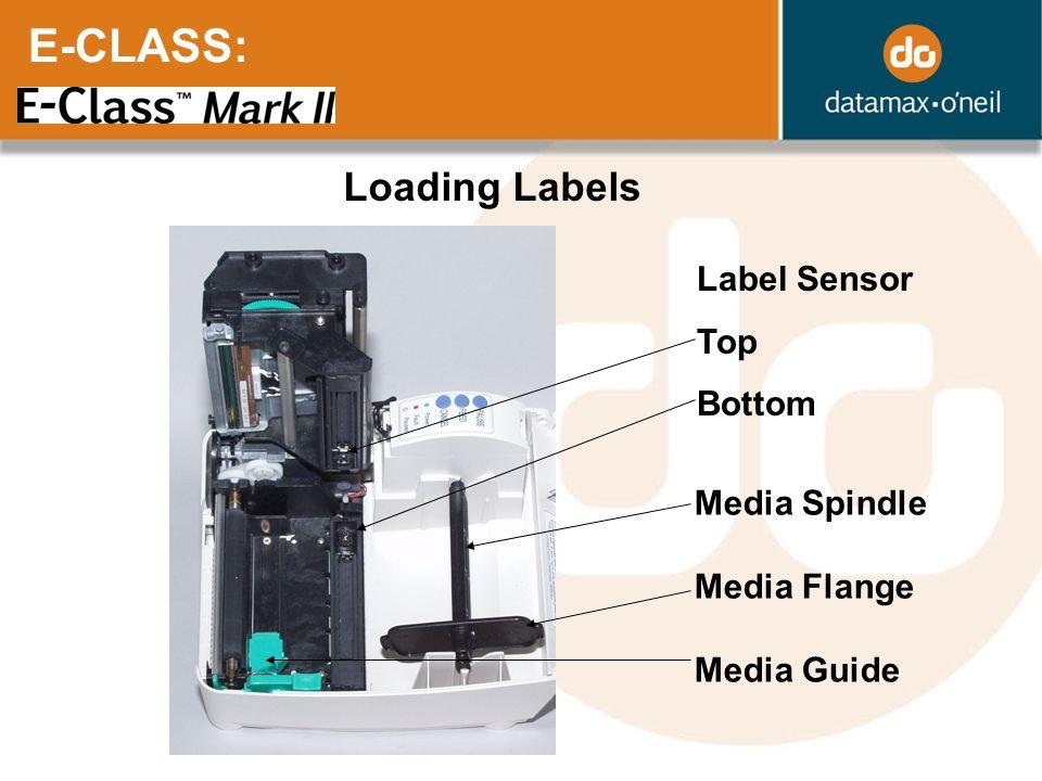 E-CLASS: Loading Labels Label Sensor Top Bottom Media Spindle