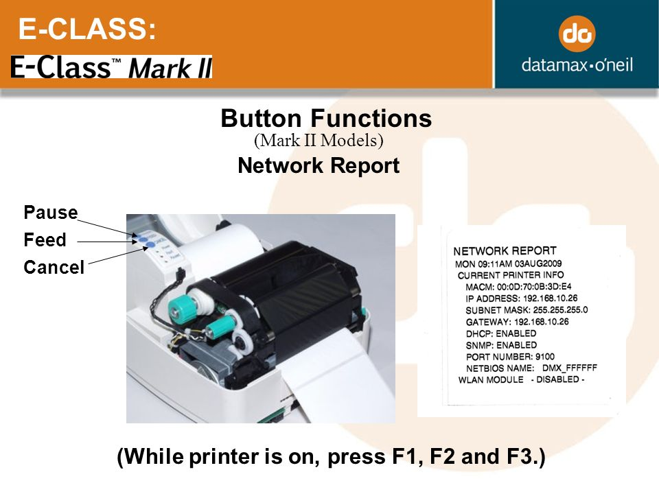 E-CLASS: Button Functions Network Report