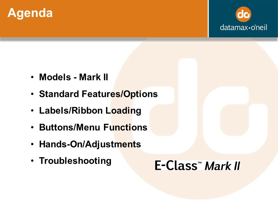 Agenda Models - Mark II Standard Features/Options