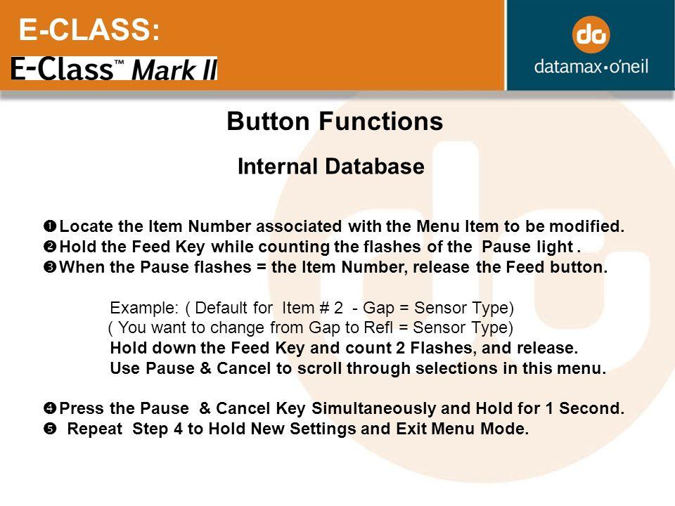 E-CLASS: Button Functions Internal Database