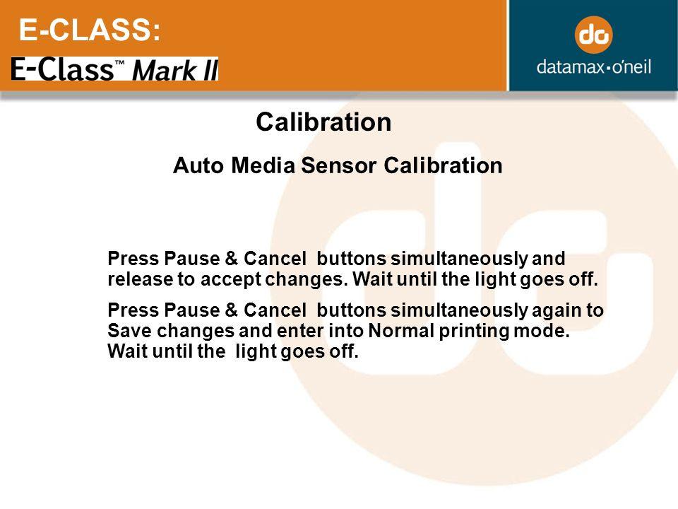 E-CLASS: Calibration Auto Media Sensor Calibration
