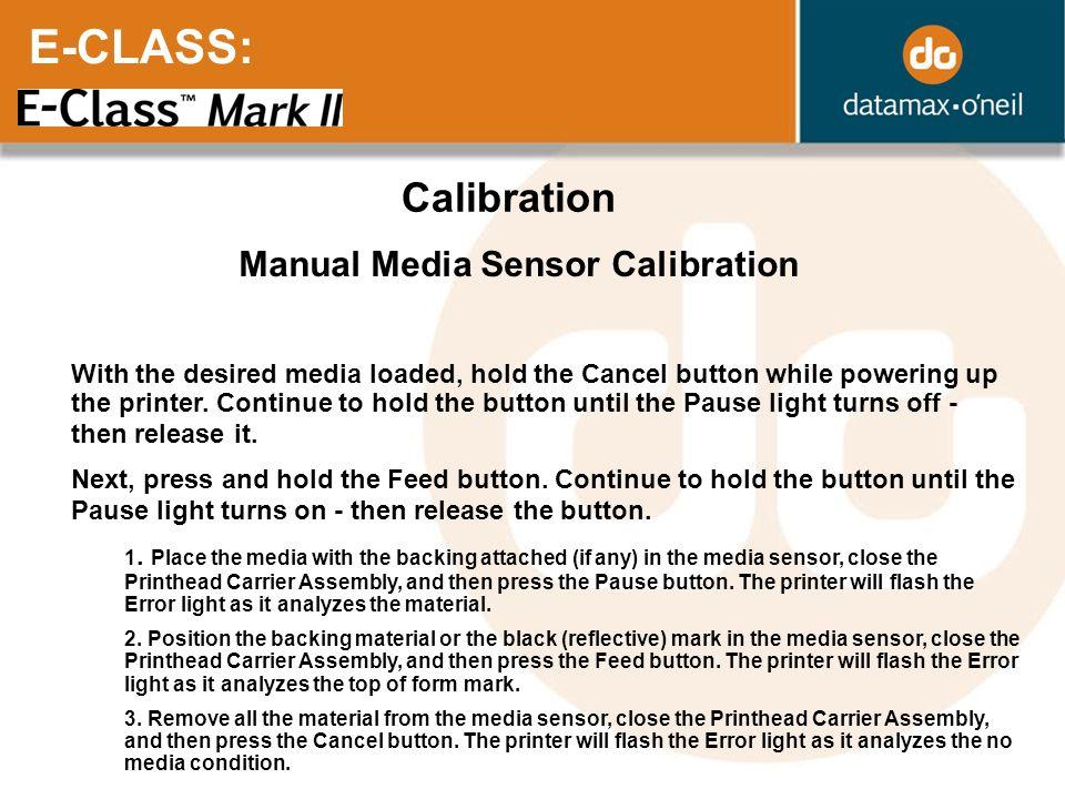 Manual Media Sensor Calibration