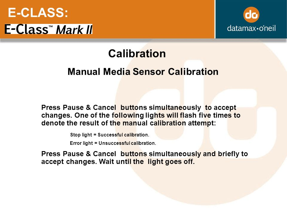 E-CLASS: Calibration Manual Media Sensor Calibration