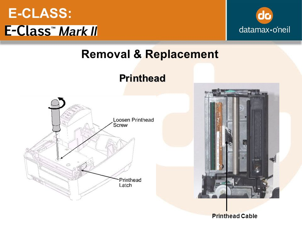 E-CLASS: Removal & Replacement Printhead Printhead Cable