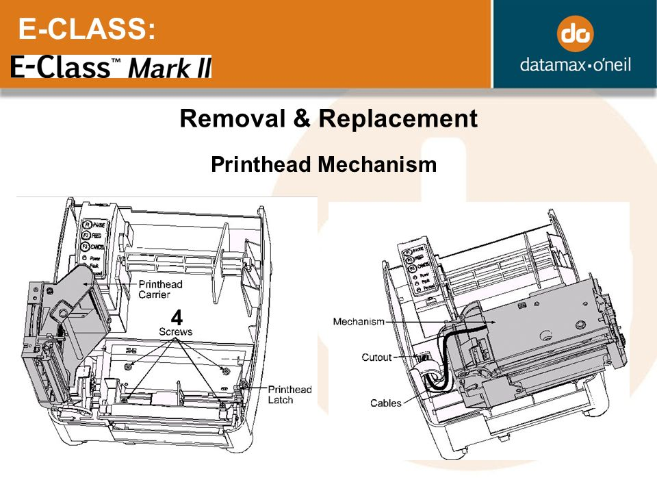 E-CLASS: Removal & Replacement Printhead Mechanism 4