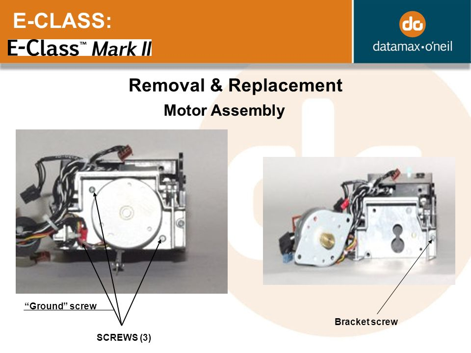 E-CLASS: Removal & Replacement Motor Assembly Ground screw