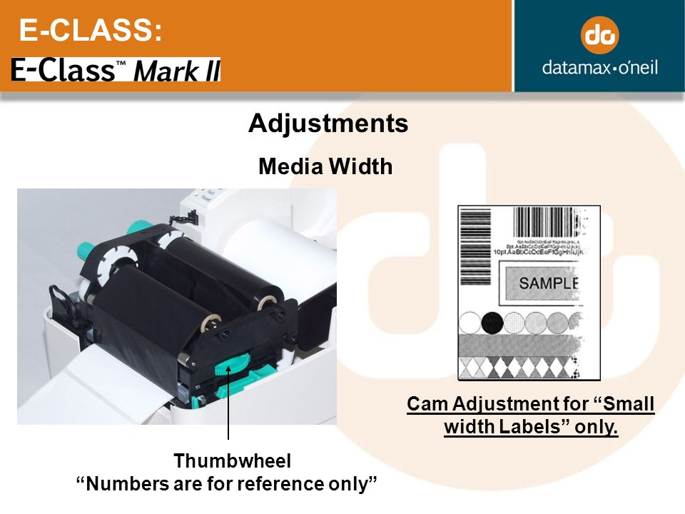 Cam Adjustment for Small width Labels only.