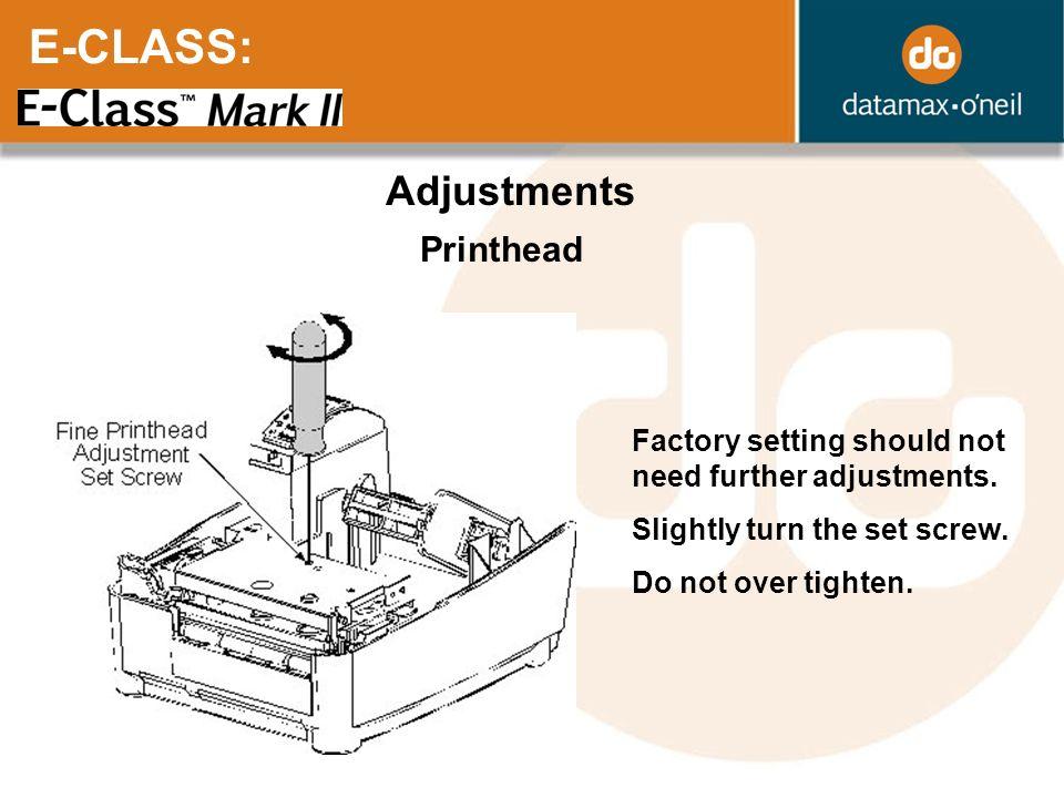 E-CLASS: Adjustments Printhead