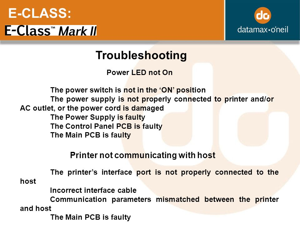 E-CLASS: Troubleshooting Printer not communicating with host