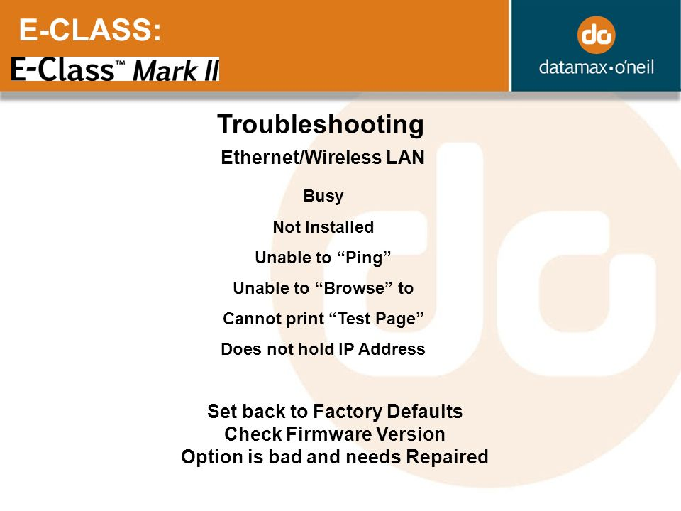 E-CLASS: Troubleshooting Ethernet/Wireless LAN