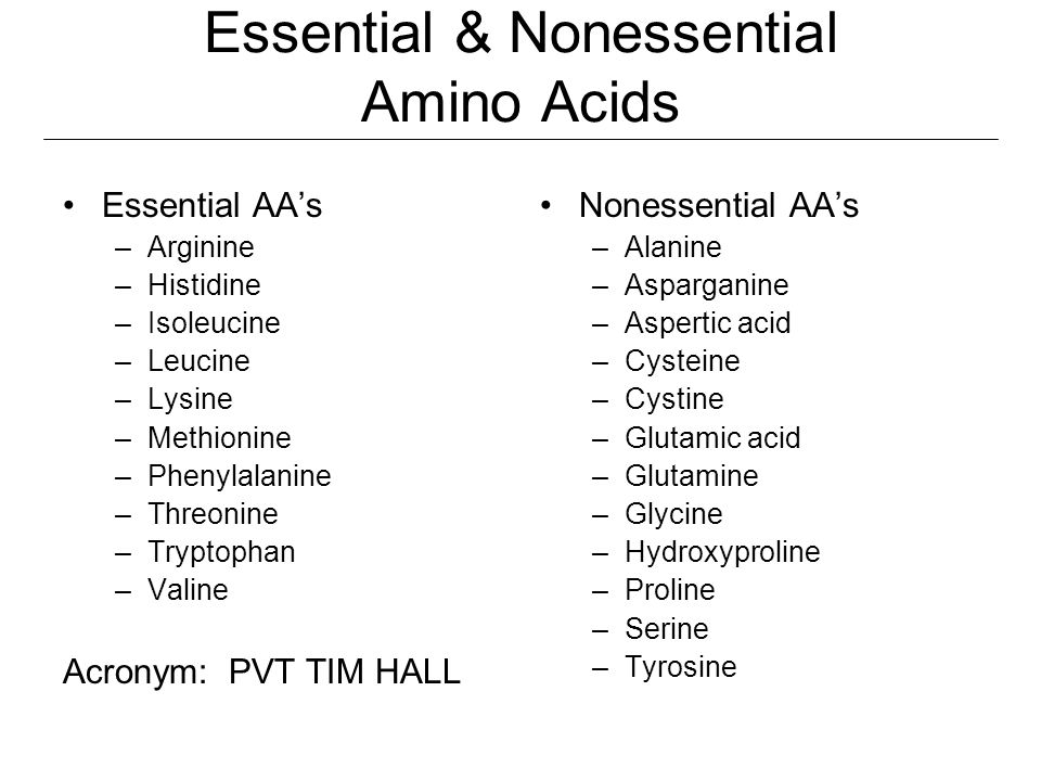 Essential & Nonessential Amino Acids