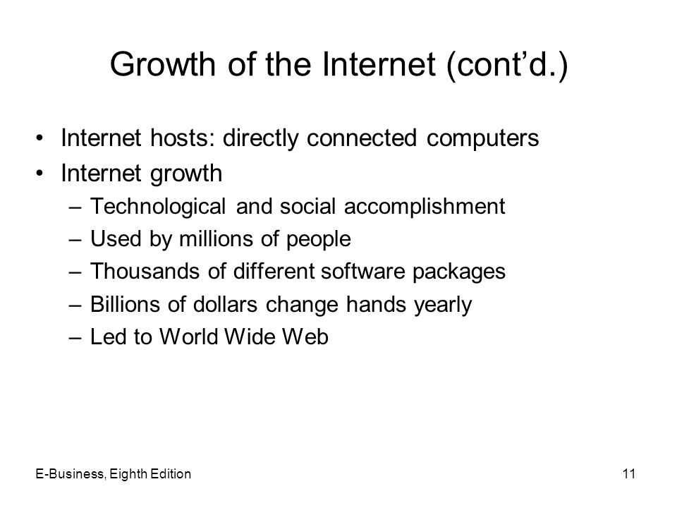 Growth of the Internet (cont'd.)