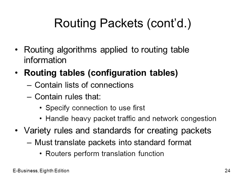 Routing Packets (cont'd.)