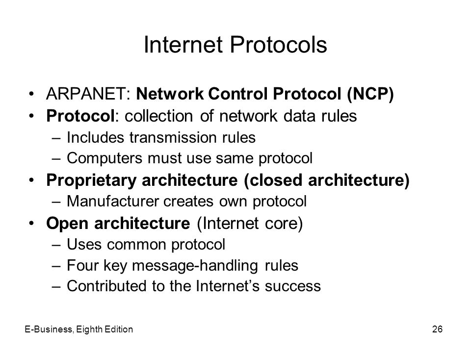 Internet Protocols ARPANET: Network Control Protocol (NCP)