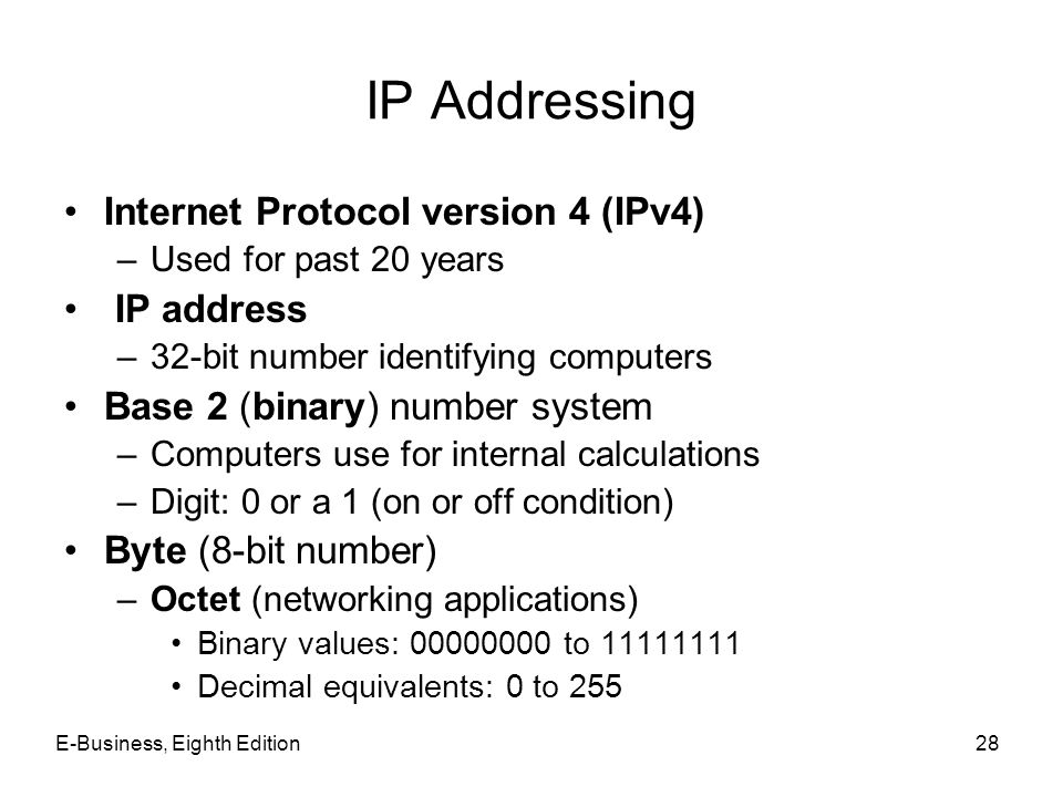 IP Addressing Internet Protocol version 4 (IPv4) IP address