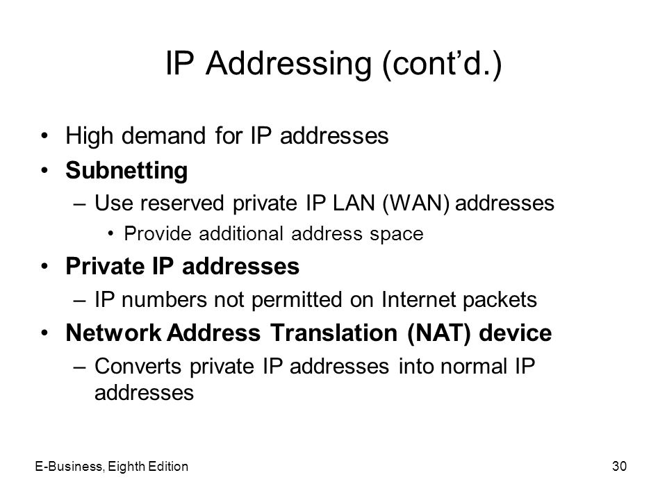 IP Addressing (cont'd.)