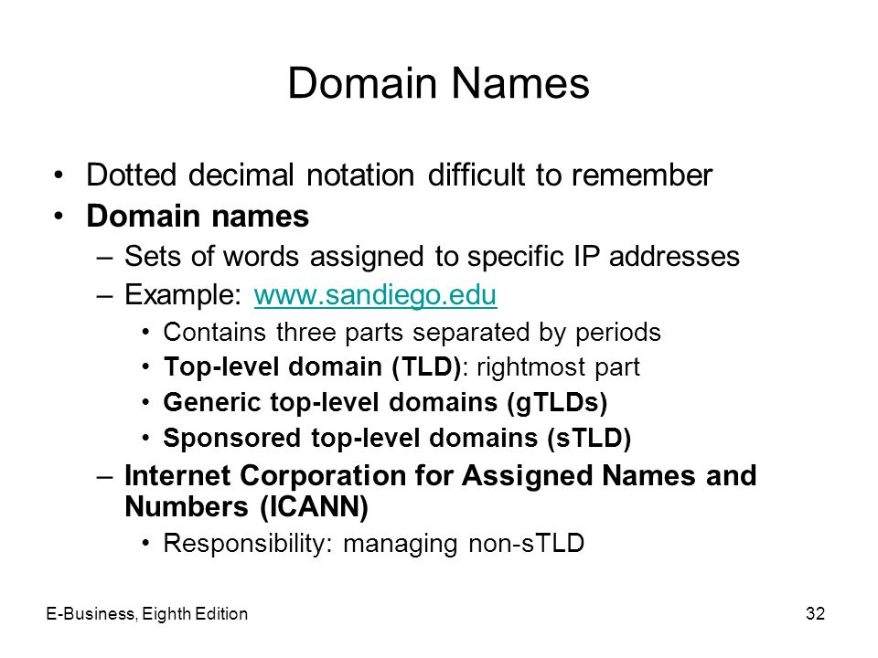 Domain Names Dotted decimal notation difficult to remember
