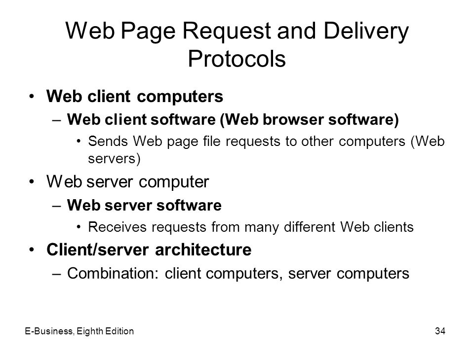 Web Page Request and Delivery Protocols