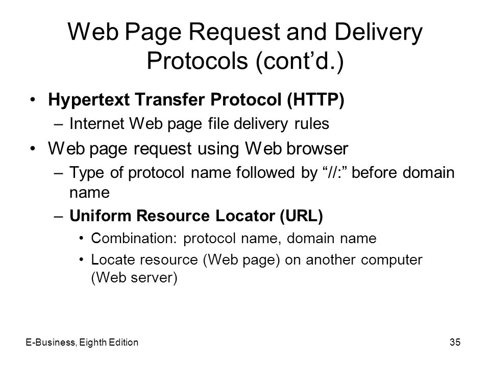 Web Page Request and Delivery Protocols (cont'd.)