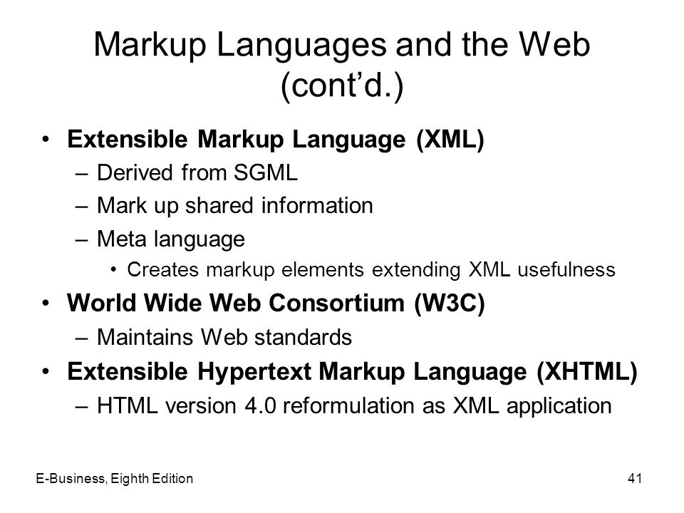 Markup Languages and the Web (cont'd.)