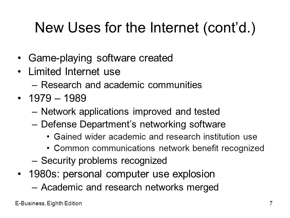 New Uses for the Internet (cont'd.)