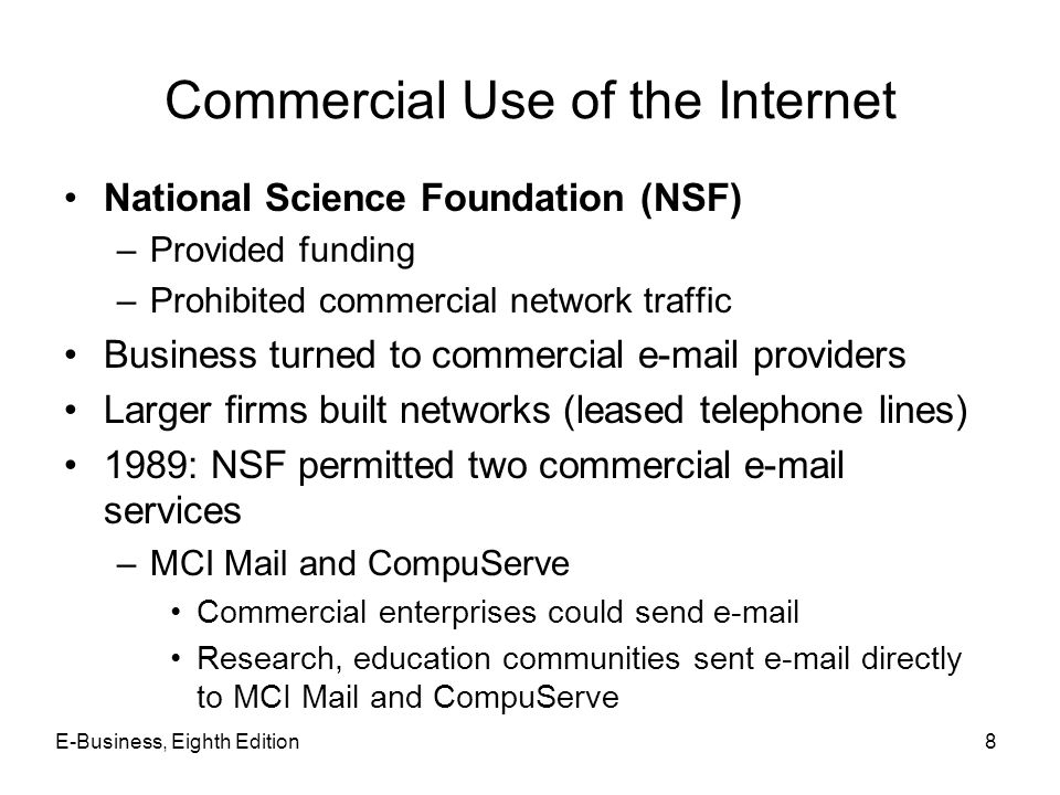 Commercial Use of the Internet