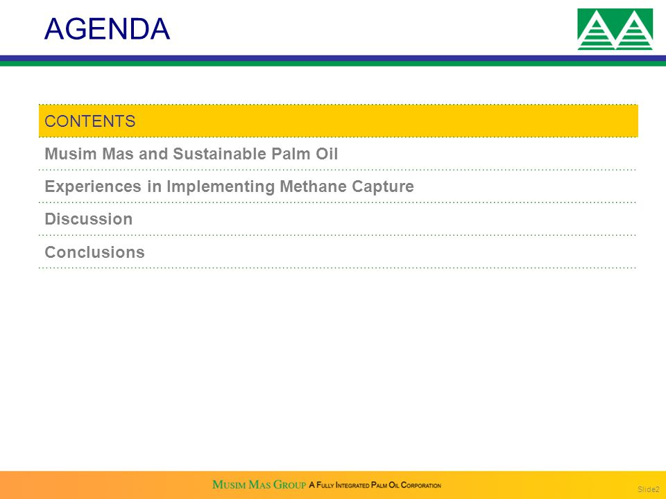 AGENDA CONTENTS Musim Mas and Sustainable Palm Oil