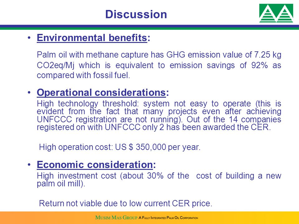 Discussion Environmental benefits: