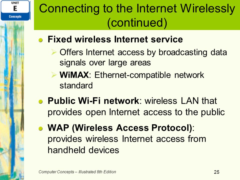 Connecting to the Internet Wirelessly (continued)