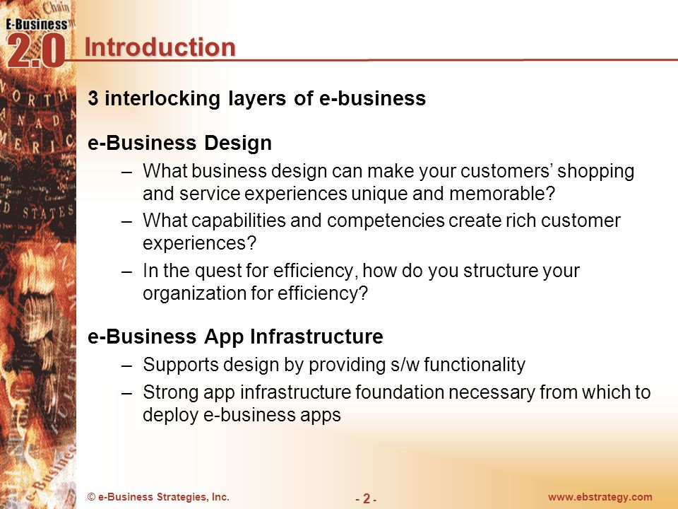 Introduction 3 interlocking layers of e-business e-Business Design