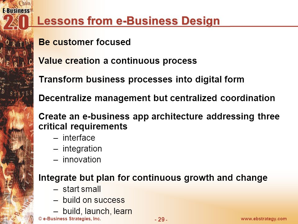 Lessons from e-Business Design
