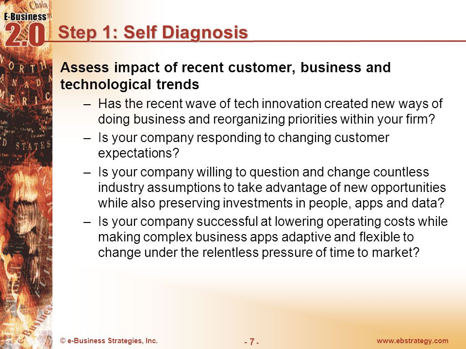 Step 1: Self DiagnosisAssess impact of recent customer, business and technological trends.
