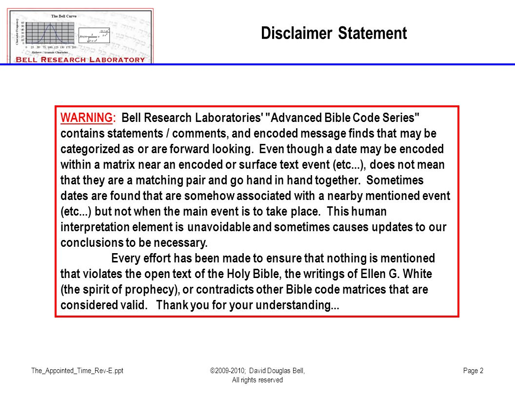 Disclaimer Statement