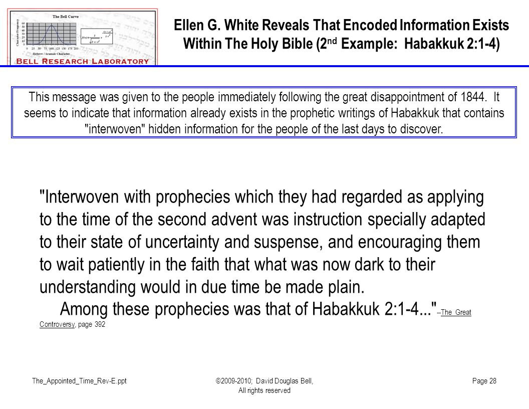 Ellen G. White Reveals That Encoded Information Exists Within The Holy Bible (2nd Example: Habakkuk 2:1-4)