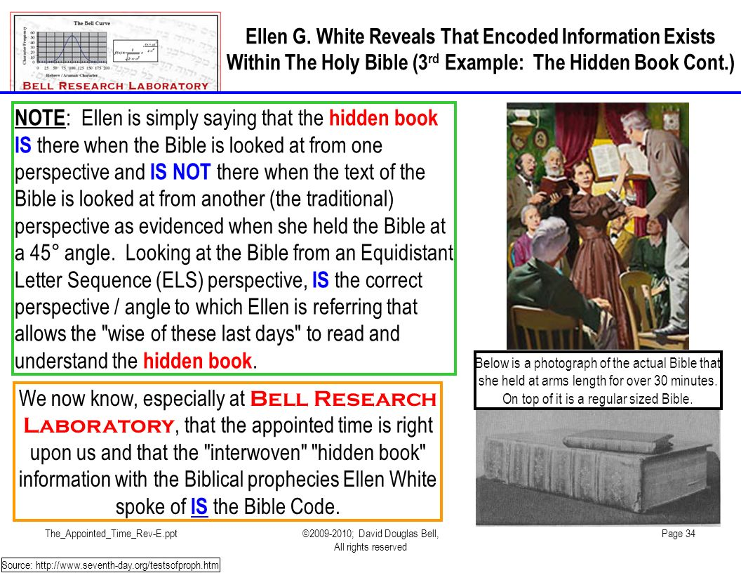 Ellen G. White Reveals That Encoded Information Exists Within The Holy Bible (3rd Example: The Hidden Book Cont.)
