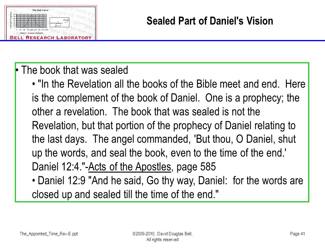 Sealed Part of Daniel s Vision