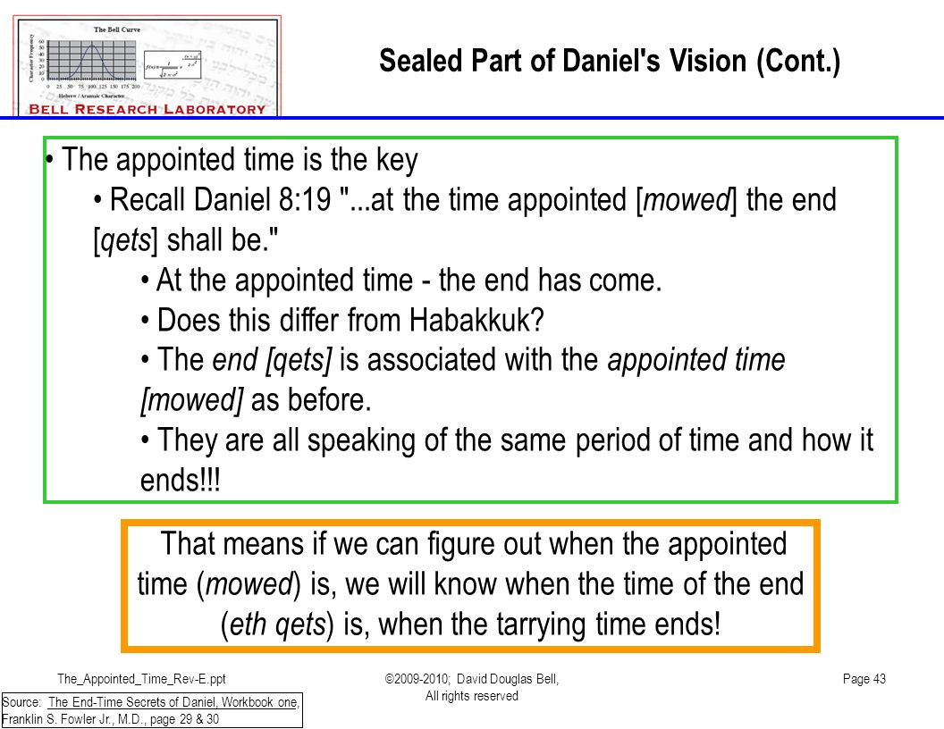 Sealed Part of Daniel s Vision (Cont.)
