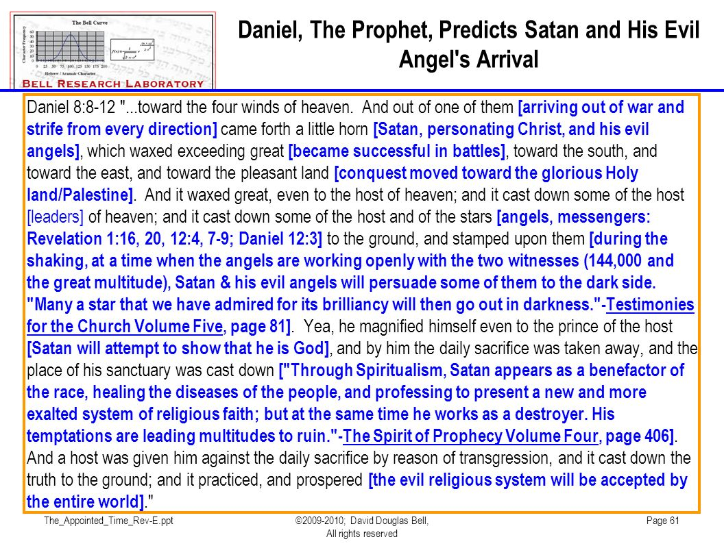 Daniel, The Prophet, Predicts Satan and His Evil Angel s Arrival