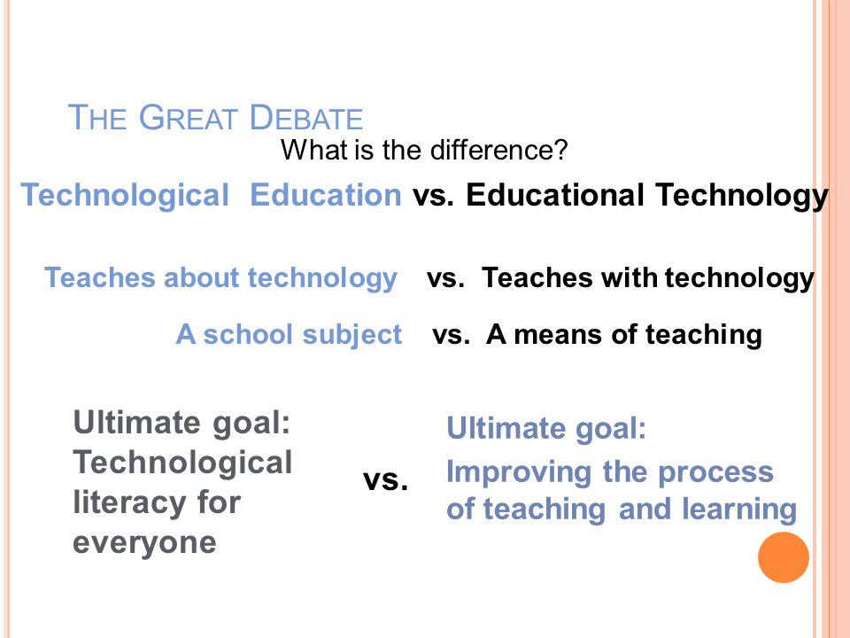 Technological Education vs. Educational Technology