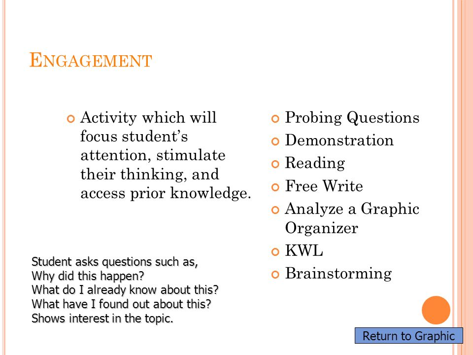 Engagement Activity which will focus student's attention, stimulate their thinking, and access prior knowledge.