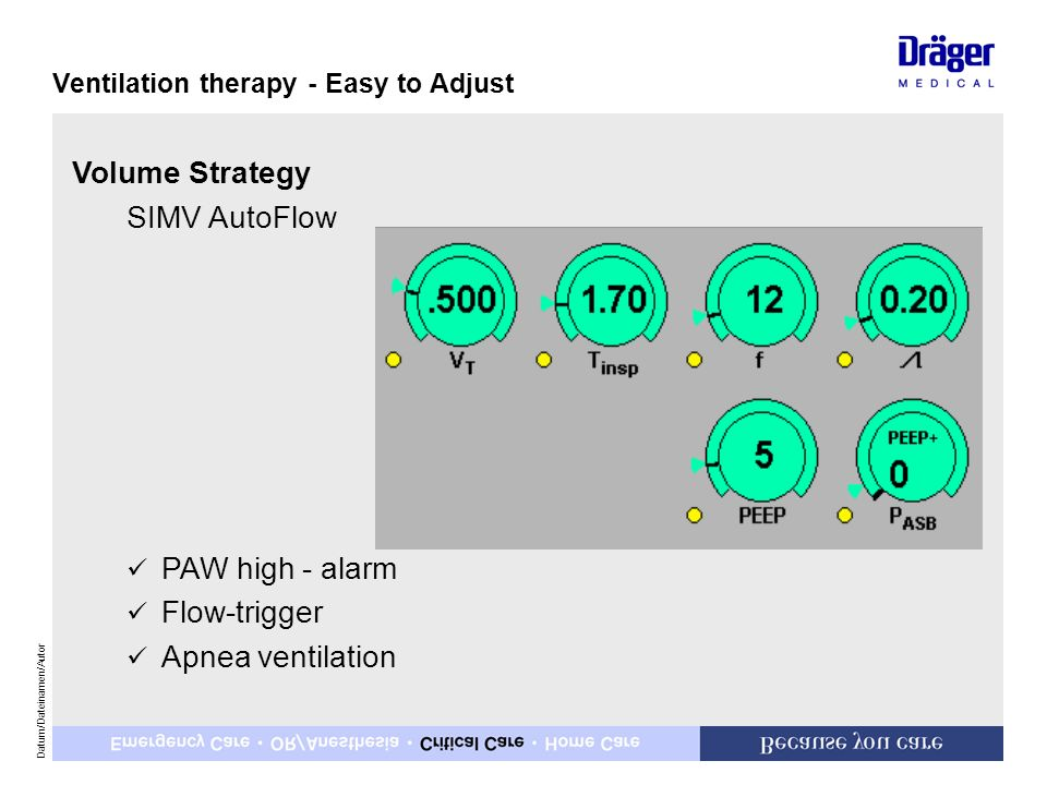 Volume Strategy SIMV AutoFlow PAW high - alarm Flow-trigger