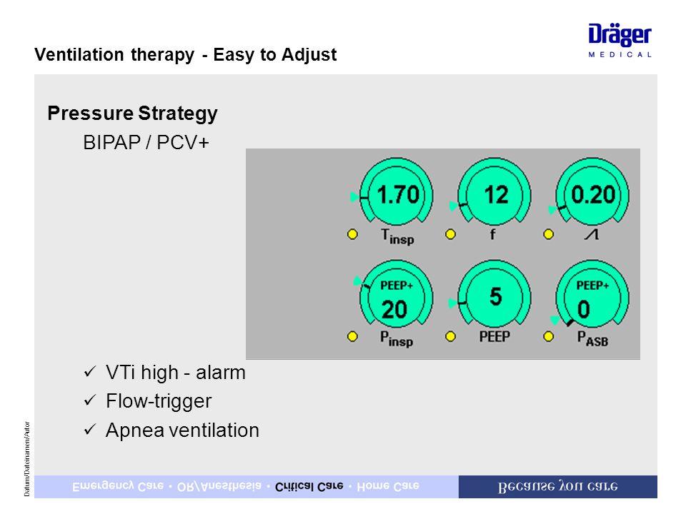 Pressure Strategy BIPAP / PCV+ VTi high - alarm Flow-trigger