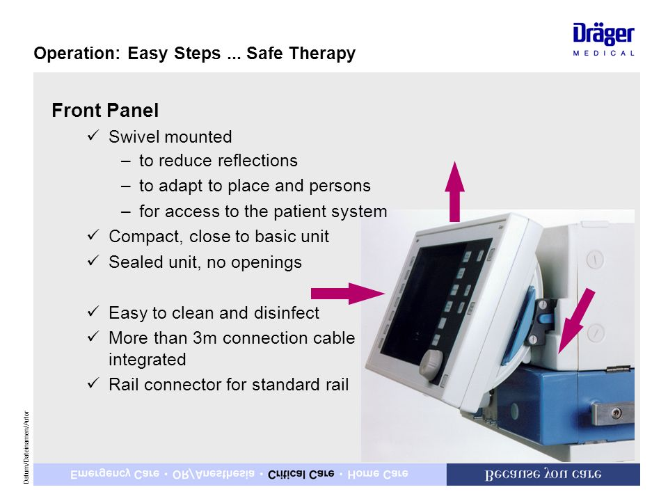 Front Panel Operation: Easy Steps ... Safe Therapy Swivel mounted