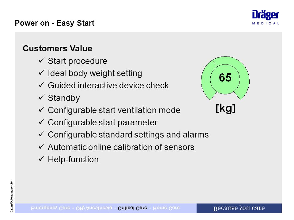 Ideal body weight setting Guided interactive device check Standby
